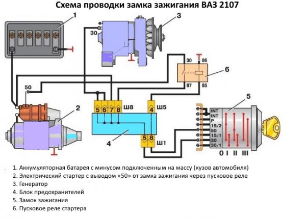 Электрическая схема подключения замка зажигания ВАЗ 2107