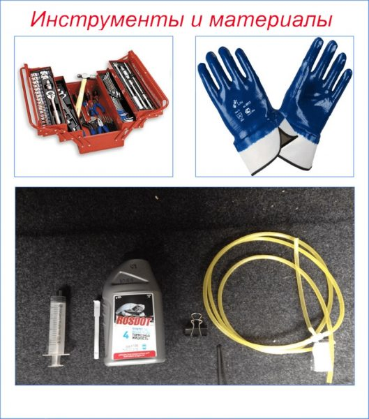 Инструмент и материалы для прокачки гидропривода сцепления