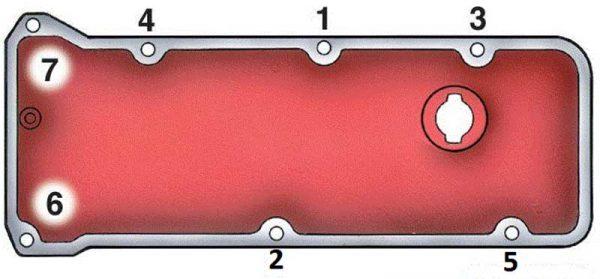 Порядок затяягивания гаек клапанной крышки