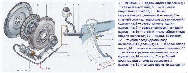 Схема механизма сцепления ВАЗ 2107