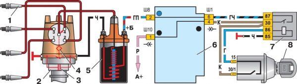 Схема системы зажигания ВАЗ 2107