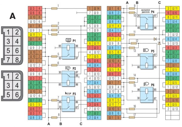 Схема соединений монтажного блока ВАЗ 2104