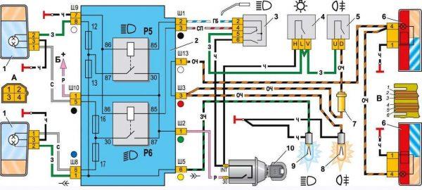 Схема включения фар и противотуманного света в задних фонаря ВАЗ 2104