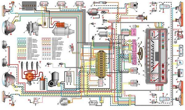 Общая электрическая схема ВАЗ 2101 (карбюратор)