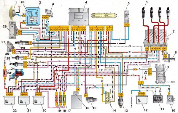 Электрическая схема классических автомобилей ВАЗ с контроллером GM моновпрыск (инжектор)