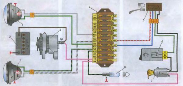 Электрическая схема подключения фар