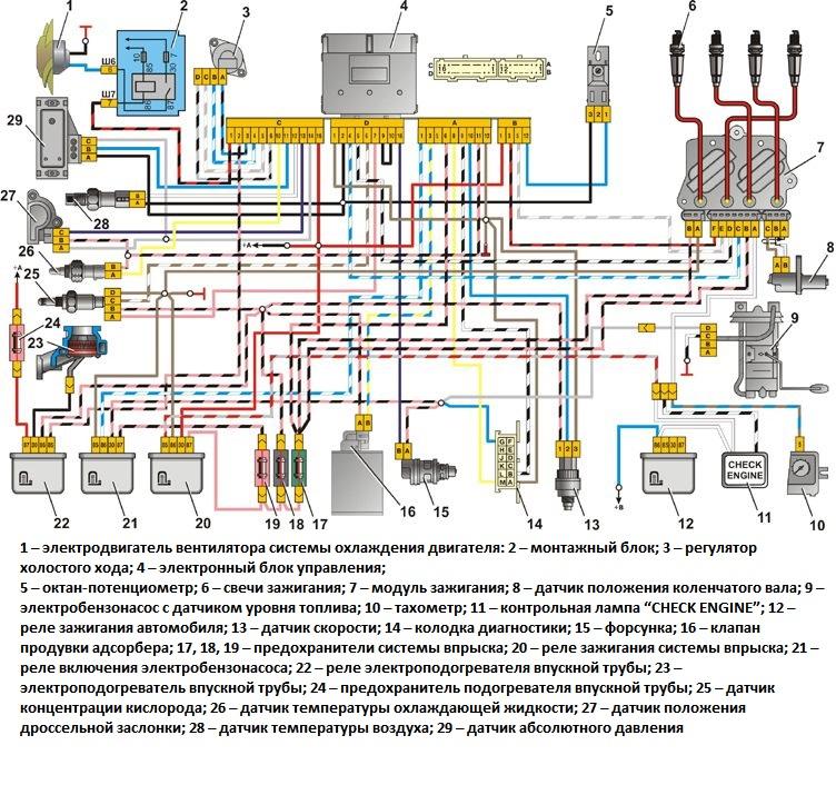 Схема подключения инжектора ваз 2107 фото 869