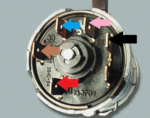 Распиновка выводов замка зажигания ВАЗ 2101