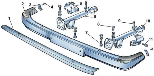 Схема крепления бампера ВАЗ 2105–07