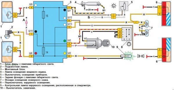 Схема наружного освещения ВАЗ 2107