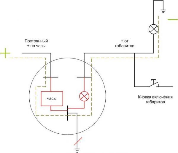 Схема подключения часов ВАЗ 2107