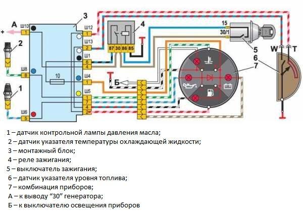 Схема подключения датчиков аварийного давления масла и уровня топлива