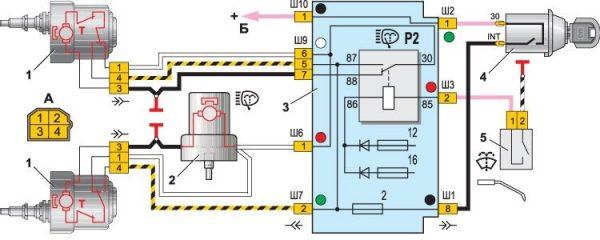 Схема подключения электродвигателей очистителя и омывателя ветрового стекла