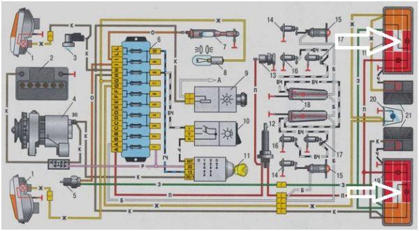 Схема подключения задних фар ВАЗ 2106