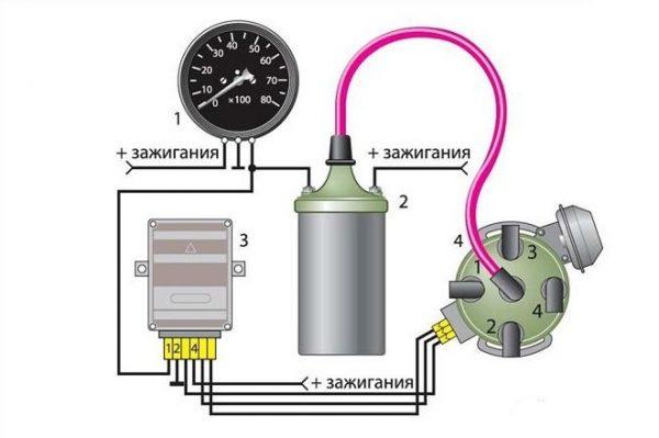 Схема подключения тахометра в автомобилях с бесконтактной системой зажигания