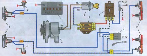 Схема подключения указателей поворота ВАЗ 2101