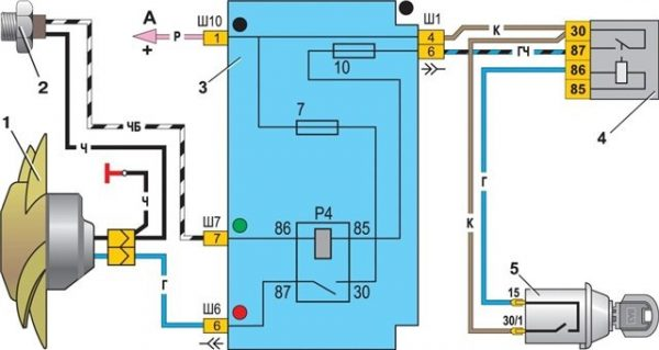 Схема подключения вентилятора радиатора в карбюраторном ВАЗ 2107