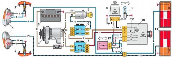 Схема подключения задних указателей поворотов ВАЗ 2106