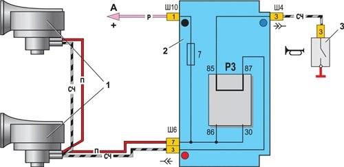 Схема подключения звукового сигнала ВАЗ 2107
