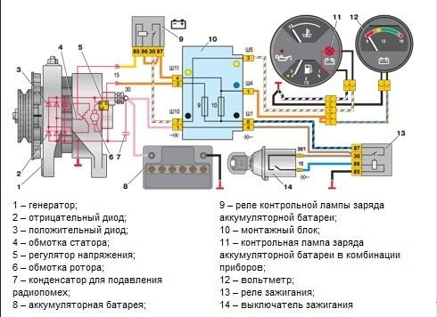 Схема системы энергоснабжения ВАЗ 2107