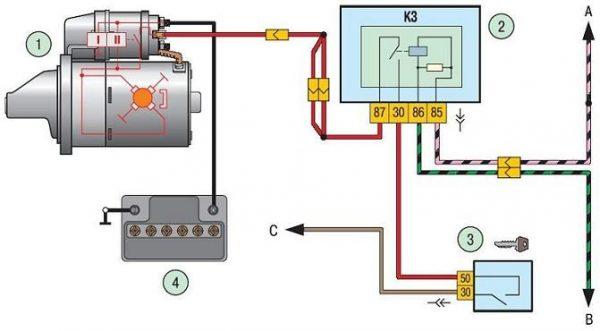 Схема системы пуска двигателя