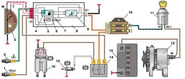 Схема подключения контрольных приборов