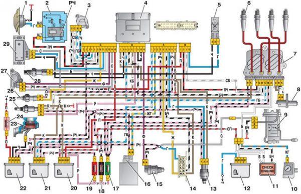 Система впрыска топлива инжекторных ВАЗ 2104
