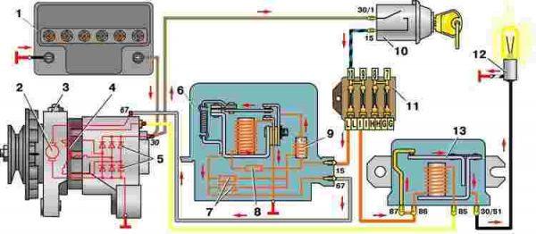 Схема подключения генератора на ВАЗ 2101