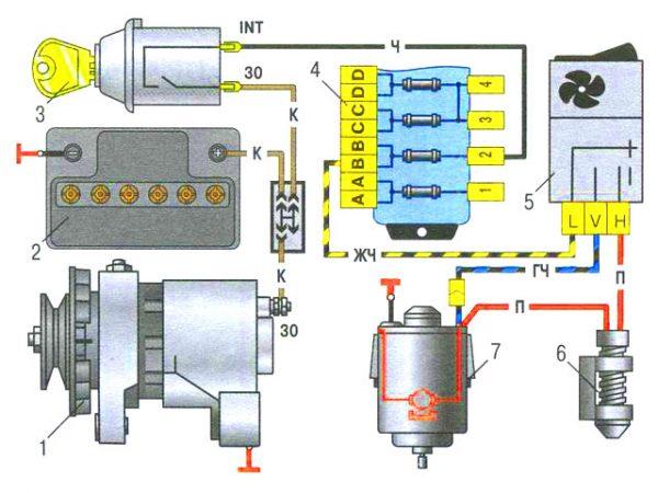 Схема работы вентилятора отопителя салона