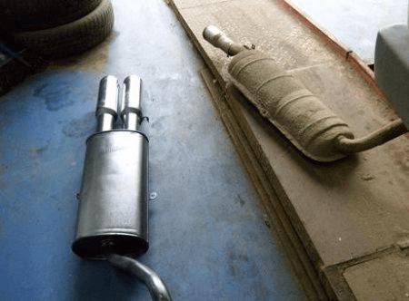 Заводской глушитель — оригинальный и переделанный на прямоточный с двумя выпускными трубами