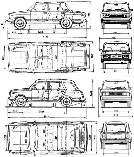 Габариты ВАЗ 2104 и ВАЗ 2105