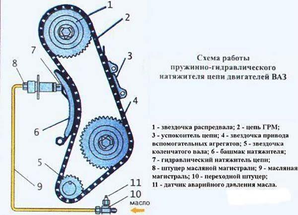 Схема ГРМ ВАЗ 2106 с гидравлическим натяжителем