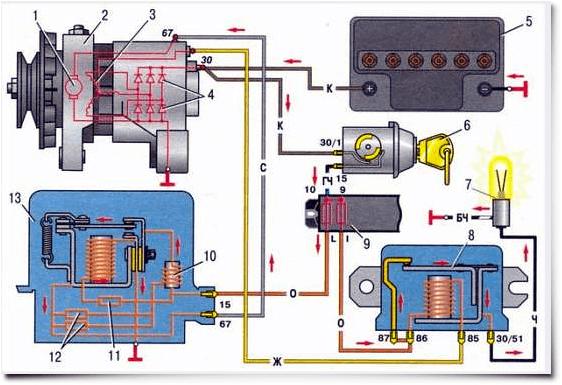 Схема генератора ваз 2106 регулятор фото 296