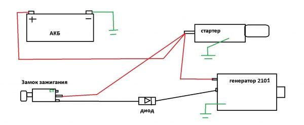 Схема подключения генератора ВАЗ 2101