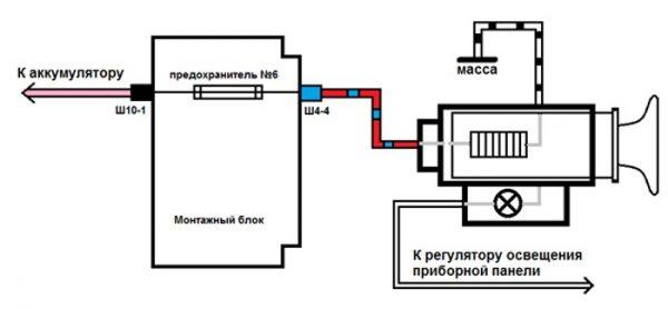 Схема подключения прикуривателя ВАЗ 2107