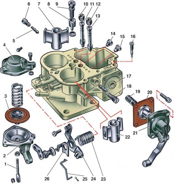Схематичное изображение карбюратора