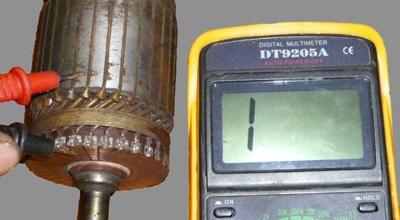 Проверка обмотки ротора стартера ВАЗ 2106
