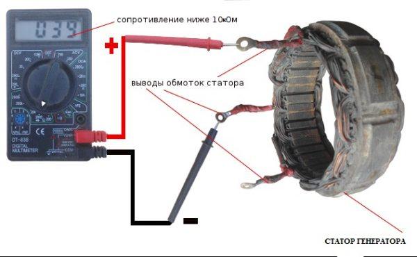 Проверка сопротивления обмоток статора стартера ВАЗ 2106