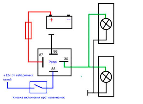 Схема подключения противотуманок на ВАЗ-2107