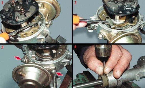 Как снять тягу вакуумного регулятора в трамблёре ВАЗ 2101—2107