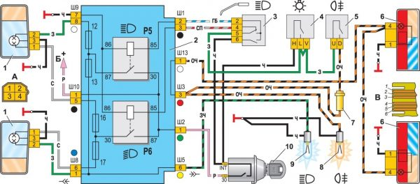 Схема задних фонарей и противотуманного света