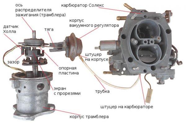 Схема подключения вакуумного регулятора к карбюратору ВАЗ 2106