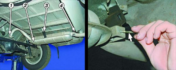 Точки крепления глушителя ВАЗ 2101—2107