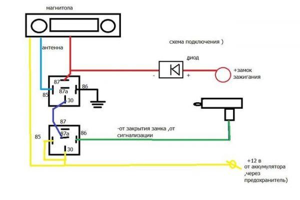 Схема подключения магнитолы на ВАЗ 2107