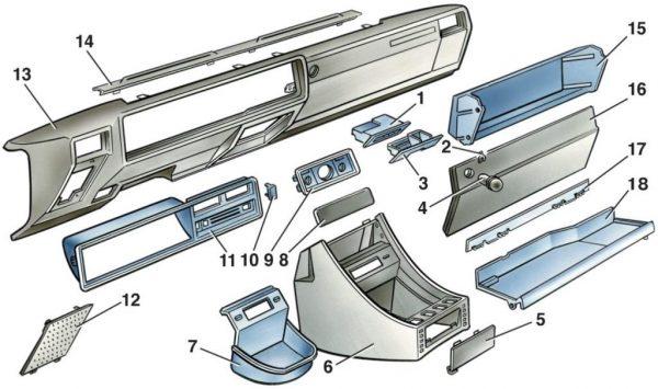 Основные элементы торпеды ВАЗ 2107