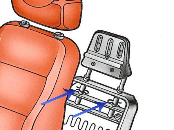 Схема демонтажа подголовников на всех сиденьях автомобилей ВАЗ