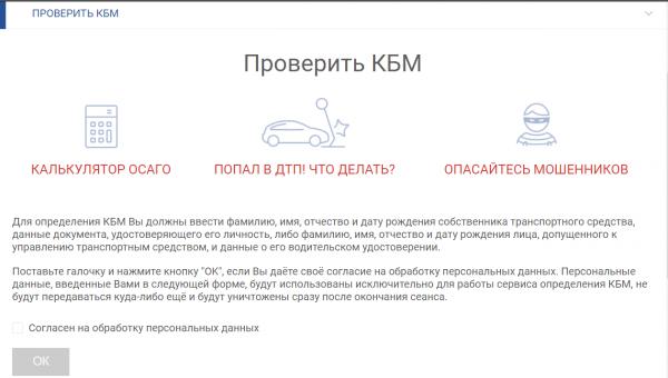 Скриншот страницы сайта РСА «проверить КБМ»