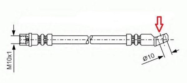 Чертеж тормозного патрубка переднего колеса «Жигулей»