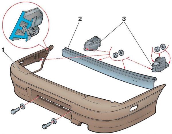 Схема креплений заднего бампера