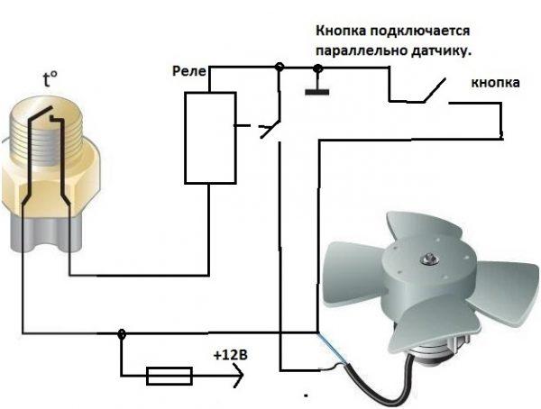 Схема принудительного включения вентилятора